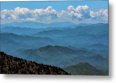 Blue On Blue - Great Smoky Mountains Metal Print