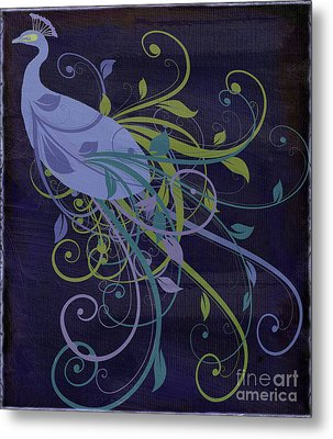 Blue Peacock Art Nouveau Metal Print by Mindy Sommers