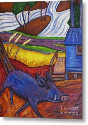 Blue Pig By Blue Hut Metal Print by Dianne  Connolly