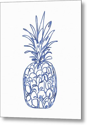 Blue Pineapple- Art By Linda Woods Metal Print by Linda Woods