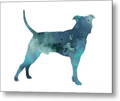 Blue Pit Bull Watercolor Art Print Painting Metal Print by Joanna Szmerdt