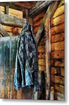 Blue Plaid Jacket In Cabin Metal Print by Susan Savad