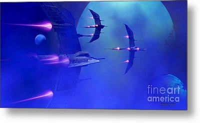 Blue Planet And Moons Metal Print by Corey Ford