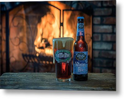 Blue Point Winter Ale By The Fire Metal Print by Rick Berk