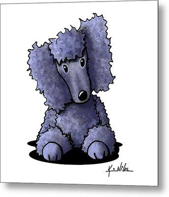 Blue Poodle Metal Print by Kim Niles