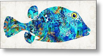 Blue Puffer Fish Art By Sharon Cummings Metal Print by Sharon Cummings