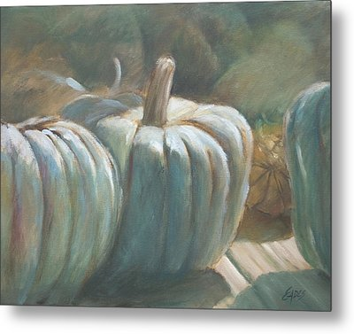 Blue Pumpkins Metal Print by Linda Eades Blackburn