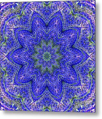 Blue Purple Lavender Floral Kaleidoscope Wall Art Print Metal Print by Carol F Austin