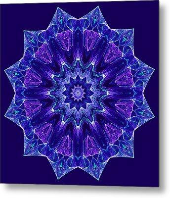 Blue And Purple Mandala Fractal Metal Print