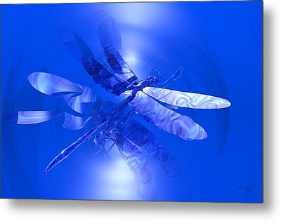 Blue Reflections Dragonfly Metal Print