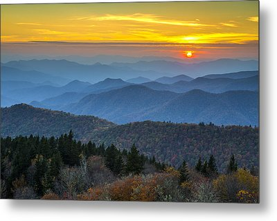 Blue Ridge Parkway Sunset - For The Love Of Autumn Metal Print by Dave Allen