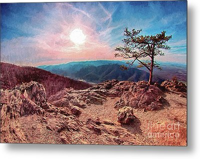 Metal Print featuring the digital art Blue Ridge Rocky Hilltop And Tree At Sunset Ap by Dan Carmichael