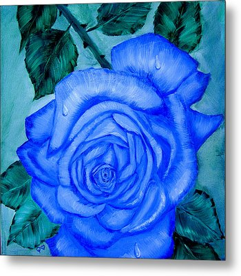 Metal Print featuring the painting Blue Rose by Quwatha Valentine