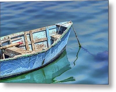 Blue Rowboat At Port San Luis 2 Metal Print