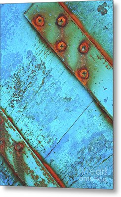Blue Rusty Boat Detail Metal Print by Lyn Randle