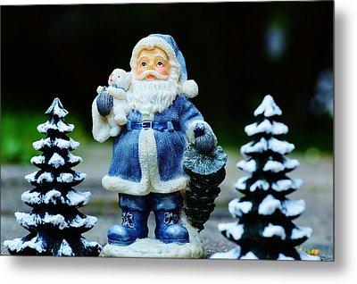 Blue Santa Christmas Card Metal Print by Bellesouth Studio