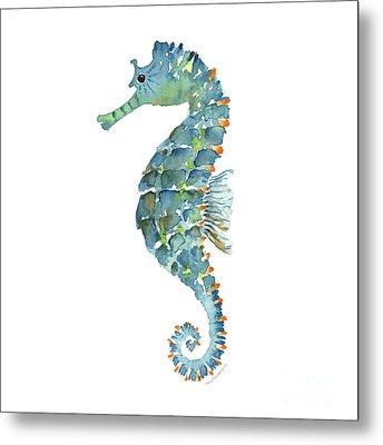 Blue Seahorse Metal Print by Amy Kirkpatrick
