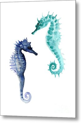 Blue Seahorses Watercolor Painting Metal Print by Joanna Szmerdt