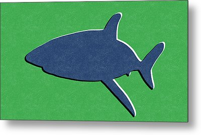 Blue Shark Metal Print by Linda Woods