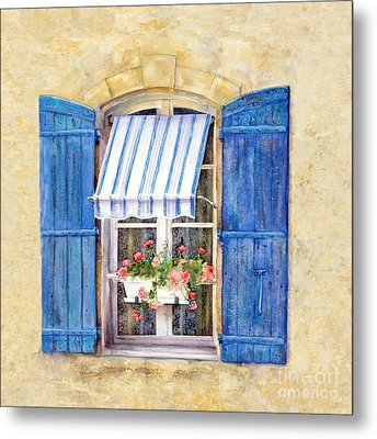 Metal Print featuring the painting Blue Shutters by Bonnie Rinier