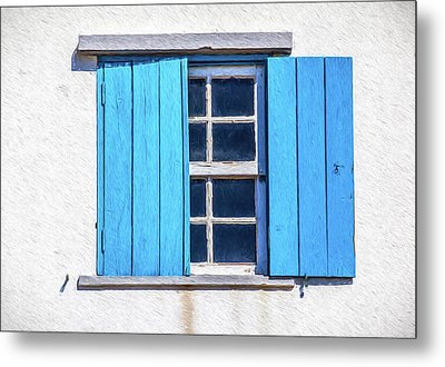 Blue Shutters Of Peniche Metal Print