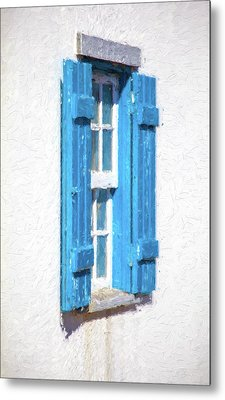 Blue Shutters Of Portugal Metal Print