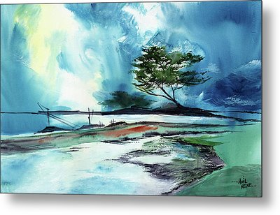 Metal Print featuring the painting Blue Sky by Anil Nene