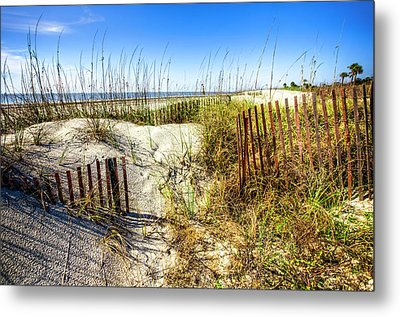Metal Print featuring the photograph Blue Sky Dunes by Debra and Dave Vanderlaan