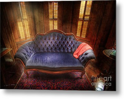 Metal Print featuring the photograph Blue Sofa Den by Craig J Satterlee