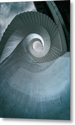 Metal Print featuring the photograph Blue Spiral Stairs by Jaroslaw Blaminsky