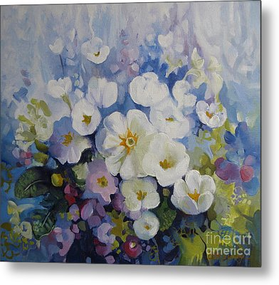 Metal Print featuring the painting Blue Spring by Elena Oleniuc