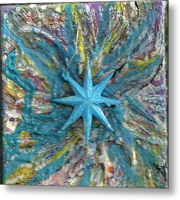 Blue Star Shining At Me Metal Print by Anne-Elizabeth Whiteway