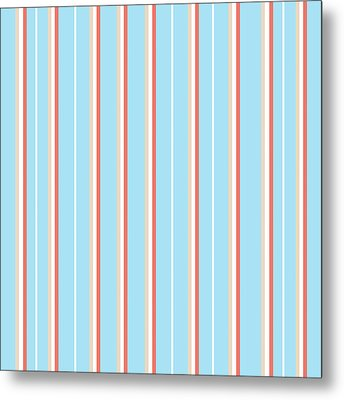 Blue Stripe Pattern Metal Print