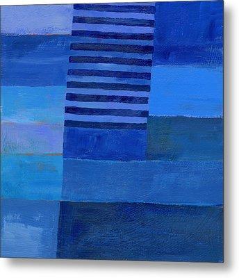 Blue Stripes 7 Metal Print by Jane Davies