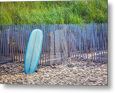 Blue Surfboard At Montauk Metal Print by Art Block Collections