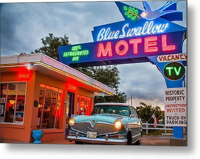 Blue Swallow Motel On Route 66 Metal Print by Steven Bateson