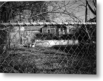 Metal Print featuring the photograph Blue Tarp And An Empty Pool by Jeanette O'Toole