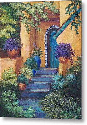Blue Tile Steps Metal Print