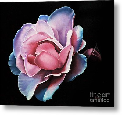 Blue Tipped Rose Metal Print