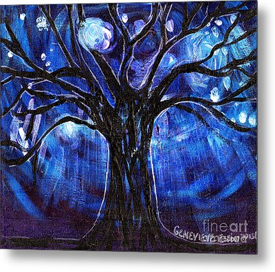 Blue Tree At Night Metal Print by Genevieve Esson