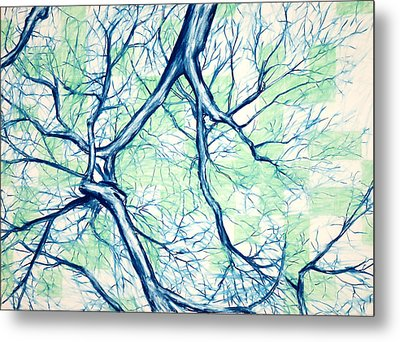 Blue Tree With Green Sky Metal Print by John Terwilliger