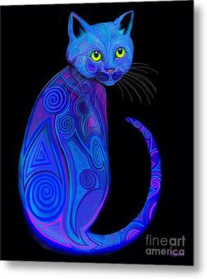 Blue Tribal Cat Metal Print by Nick Gustafson