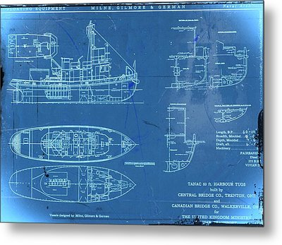 Blue Tugboat Blueprints Metal Print
