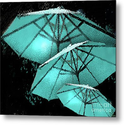 Blue Umbrella Splash Metal Print