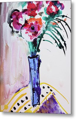 Blue Vase With Red Wild Flowers Metal Print