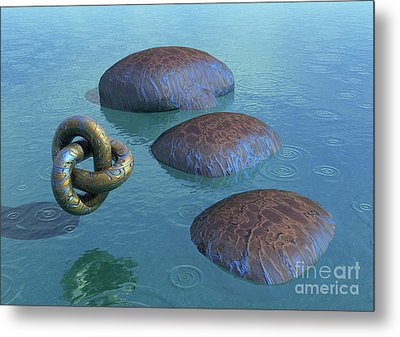Metal Print featuring the digital art Blue Vein Of Life - Surrealism by Sipo Liimatainen