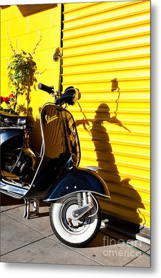 Metal Print featuring the photograph Blue Vespa by Sonny Marcyan