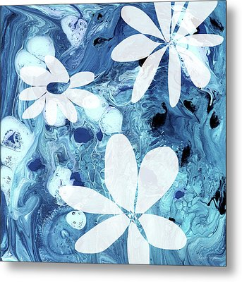 Blue Water Flowers- Art By Linda Woods Metal Print