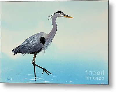 Metal Print featuring the painting Blue Water Heron by James Williamson