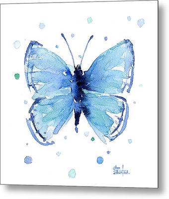 Blue Watercolor Butterfly Metal Print by Olga Shvartsur